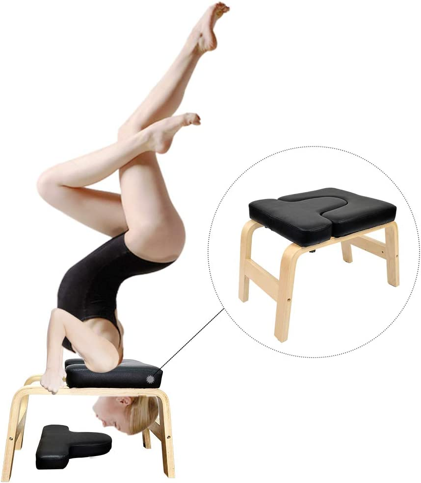 C-Chain Balanced Yoga Headstand Bench - Ideal for Workout, Fitness and Gym Perfect for Both Beginner and Experience Yogis - Wood and PU Pads - Relieve Fatigue and Build Up Body