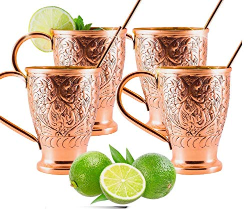 (Moscow Mule Pure Copper Cups - Stunning Embossed Set of 4 Copper Mugs - Bonus Straws/Stir Sticks/Recipes- Kamojo Exclusive (Gift Set of 4))