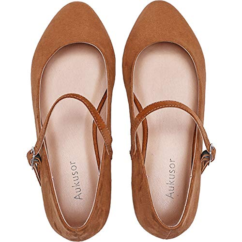 Mary Jane Suede Brown - Women's Wide Width Flat Shoes - Comfortable Classic Pointy Toe Mary Jane Ballet Flat(Brown 180819,9.5WW)