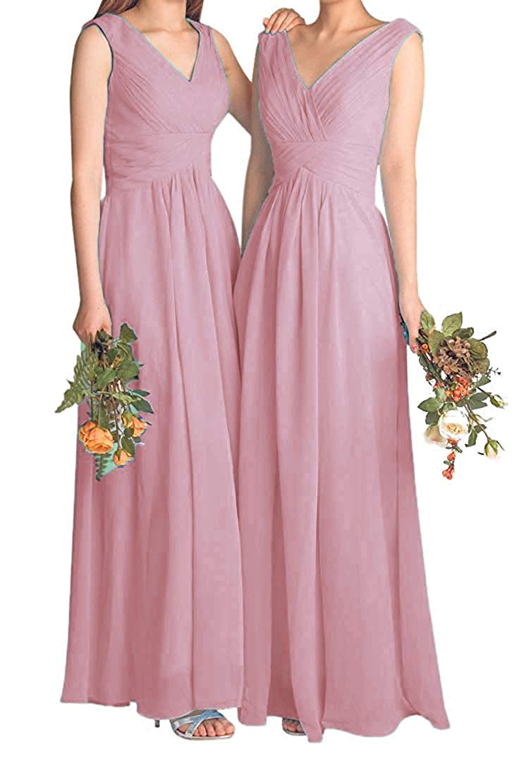 bluesh Fanciest Women's V Neck Bridesmaid Dresses Long Prom Evening Dress 2018 Maxi Formal Gowns