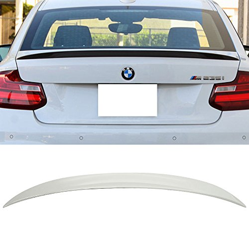Pre-painted Trunk Spoiler Fits 2014-2018 BMW 2 Series F22 | P Style ABS Painted Alpine White III #300 Rear Tail Lip Deck Boot Wing Other Color Available By IKON MOTORSPORTS | 2015 2016 2017