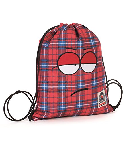 Gymsack - INVICTA - OLLIE FACE - Sport & Leisure Bag - Red Tartan 3Lt by Invicta