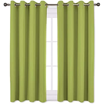 Amazon Com Two Panels Blackout Lime Green Grommet Faux