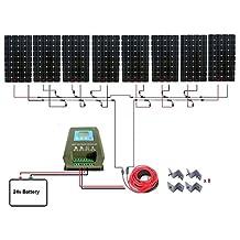 ECO-WORTHY 1300W Monocrystalline 24V Off Grid Solar Panel Kit: 8pcs 160W Mono Solar Panels+40A MPPT Controller+Solar Cable+MC4 Branch Connectors Pair+Mounting Z Brackets