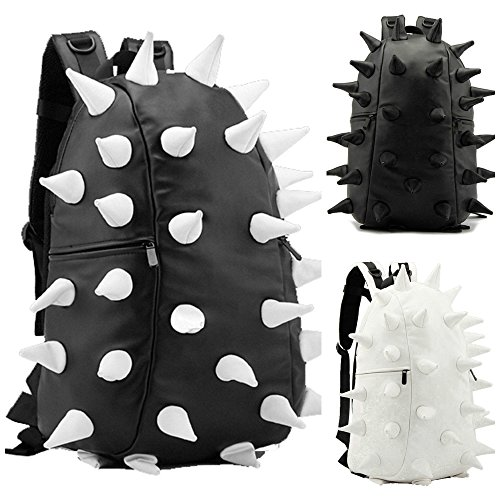 Punk Faux Back Black white Student Spiked Bag Rucksack Goth catz Emo copy Hedgehog Leather White Handbag pack Unisex Soft Fat Backpack By catz 8F5xqFS