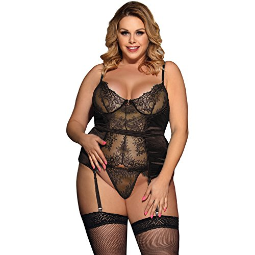 Lovely Lies Sexy Corset Lingerie and Garter Set Plus Size Push Up Underwire Bra Black