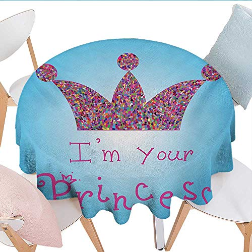 I am a Princess, Tablecloth Cotton Linen Dust-Proof Table Cover, Romantic Quote Couples in Love Colorful Mosaic Style Crown Tiara, Dinning Tabletop Decoration, (Round, 60 Inch, Blue Pink Multicolor)