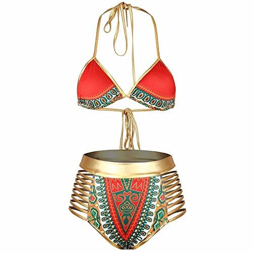(2018 New African Tribal Print Two Pieces Bikini Set Sexy Brazilian Bath Suit Swimwear Plus Size Swimsuit)