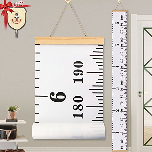 Baby Height Growth Chart Ruler KINBON Kids Roll-up Canvas Height Chart Removable Wall Hanging Measurement Chart Wall Decor with Wood Frame for Kids Nursery Room (79'' X 7.9'') (Decor Wood Wall Children)