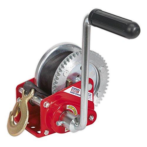 (Sealey Geared Hand Winch with Brake & Webbing 540Kg Capacity GWW1200B)