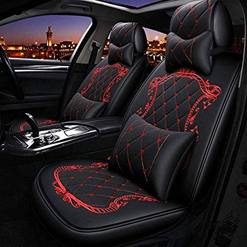 Lykaci Car Seat Covers Set Leather, Universal 5 Seats Seat Cushions for the front seats and rear seat Seats Seat cover with cushions (Color : Red):