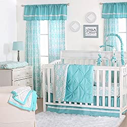 Teal Blue Pintuck and Floral Medallion 4 Piece Crib Bedding for girls by The Peanut Shell