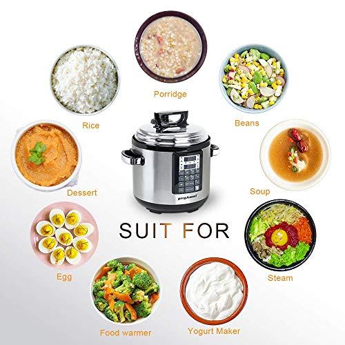 prepAmeal 6QT 8-IN-1 ( 3 Speeds Options ) Pressure Cooker Multi-Use Programmable Instant Cooker Pressure Pot with 16 Smart Programs, Slow Cooker, Rice Cooker, Steamer, Sauté, Yogurt Maker, Warmer, Hotpot (6 Quart)