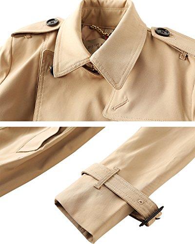 avec manteaux Femme ceinture double Kaki Vent Trench Coat boutonnage WaFan6Ix