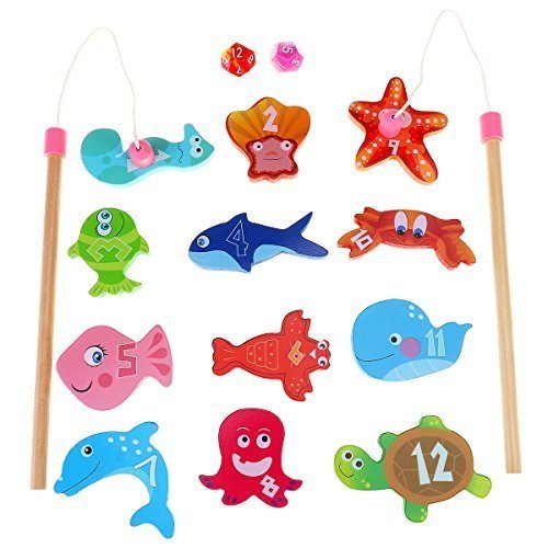 (BESTOYARD Magnetic Fishing Game - Magnetic Wooden Fishing Games for Kids, Baby Bath Pool Toys, Toddlers Preschool Toys, Sea Animals And Number Learning Toys with 12 Different Fish and 2 Poles)