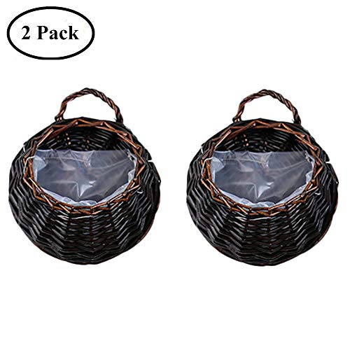 (Yunhigh Wall Mounted Hanging Planter Natural Wicker Braided Hanging Flower Pot Hand Woven Rattan Planter Basket Decorative Wall Door Home Decor,Set of 2)