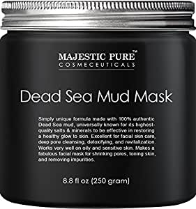 Majestic Pure Dead Sea Mud Mask for Face and Body, Gentle Facial Mask for Men and Women Promoting Younger Looking Skin - 8.8 fl. Oz