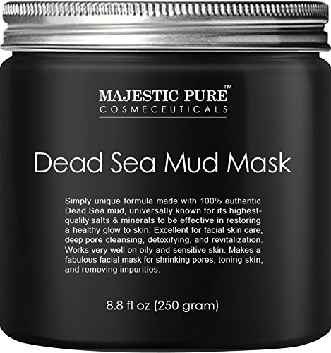 Majestic Pure Dead Sea Mud Mask for Face and Body, Gentle Facial Mask for Men and Women Promoting Younger Looking Skin - 8.8 fl. Oz -
