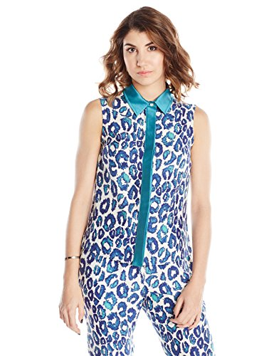 Leonor Silva Women's Sea Urchin Leopard Print Blouse with Mikado Collar 10 Teal Leopard Print ()
