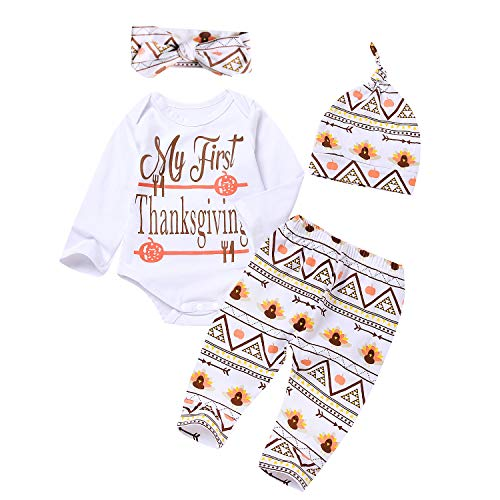 4Pcs Outfit Set 2018 New Baby Girls Boys My First Thanksgiving Bodysuit Turkey Print Pants with Hat and Headband (6-12 Months, Thanksgiving Day)]()