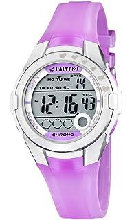 Calypso Chrono - Reloj digital infantil de cuarzo con correa de plástico rosa (luz,
