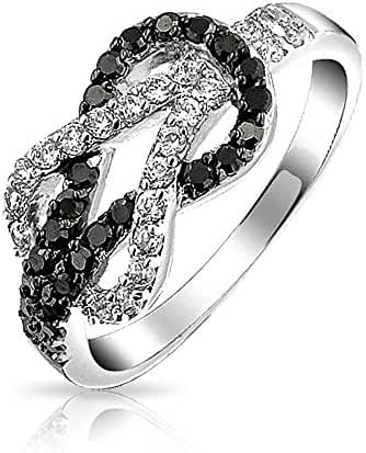 Bling Jewelry Black And White CZ Knot Two Tone Ring Rhodium Plated