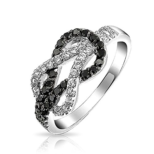 - Bling Jewelry Cubic Zirconia Two Tone Black White Pave CZ Love Knot Infinity Ring Band for Women for Girlfriend Silver Plated Brass
