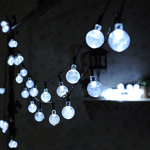 30 Led Solar Globe String Lights Outdoor White Crystal Ball Patio Lights for Garden, Path By Uping