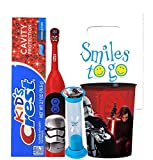 Star Wars Villans 4pc Bright Smile Oral Hygiene Bundle! Turbo Powered Toothbrush, Toothpaste, Brusing Timer & Mouthwash Rinse Cup! Plus Dental Gift & Remember to Brush Visual Aid!