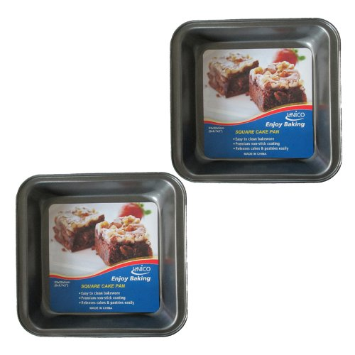 "Unico 2 Pack Square 9"" x 8.7"" x 2"" Premium Non-Stick Baking Pan Heavy-Gauge Aluminized Steel"