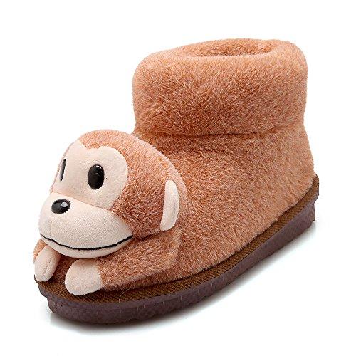 Y-hui Pantoufles De Coton Chaussures Accueil Hiver Coton Vadrouille Avec Pantoufles À Semelles Épaisses Avec Haut Paquet, 260 (pour 38, 39 Mètres), Camel