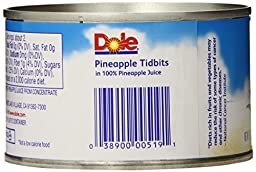 Dole Pineapple Tidbits in Juice, 8 Ounce Cans (Pack of 12)