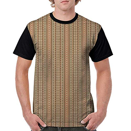 - crabee Women Summer Streetwear,Oriental,Geometric African Culture Influenced Rhombuses and Herringbone Pattern, Brown Pale Brown Beige S-XXL T Shirt Print Short Sleeve