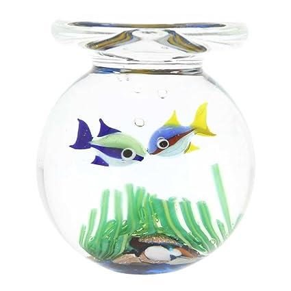 GlassOfVenice - Tarro de cristal de Murano para acuario con dos peces tropicales