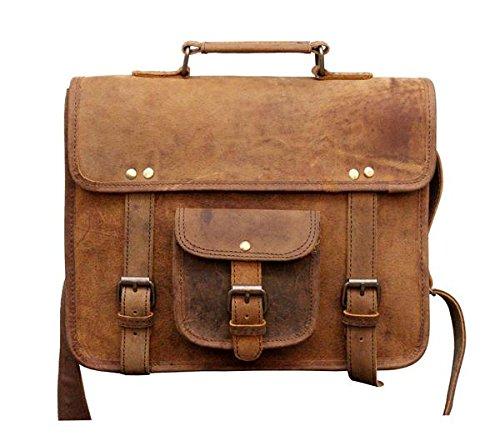 Tuzech Buffalo Hunter Leather cute regular use messenger Satchel bag- Fits laptop fino a 33,8cm