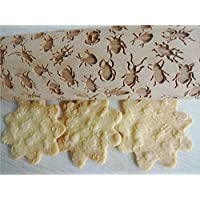 INSECTS embossing rolling pin for Halloween cookies Moon Owl Spider Ghost Pumpkin Witch Cross