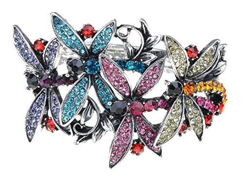 Alilang Womens Dragonfly Cuff Bracelet - Silvery Tone With Blue, Purple, Pink & Clear - Multicolored Bracelet Rhinestone