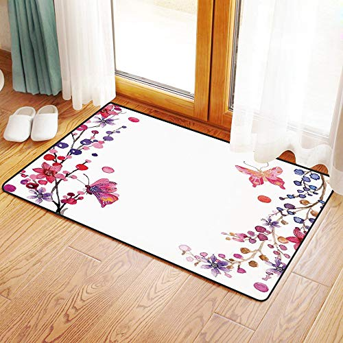 Non-Slip Mat Microfiber Bathroom Rug Shower Mat, Butterflies Decorations,Floral Art with Butterfly Magic of Bel, Ultra Soft and Water Absorbent Bath Rug,Machine Wash/Dry 20x 31 inches