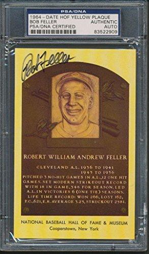 1964 HOF Plaque Bob Feller Certified Authentic Auto Autograph *2909 - PSA/DNA Certified - Baseball Slabbed Autographed Cards ()