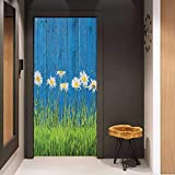 Onefzc Pantry Sticker for Door Flower Fresh Springtime Grass and Daisy on Fence Summer Simple Vintage Style Print Sticker Removable Door Decal W32 x H80 Blue Green White