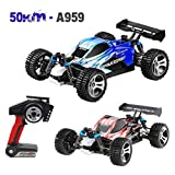 1:18 2WD 2.4GHz Retro High Speed 30mph 50km/h RC Racing Car Wltoys A959B Upgraded 540 Brush Motor CaseTruck Off-Road Buggy Student Toys Gift (Red)