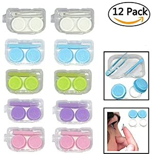 Pack of 12 Contact Lens Cases, 12 Month Value Pack of Contact Containers, Perfect for Home and Travel, Tweezers, Stick, Lens Holder- Assorted Colors