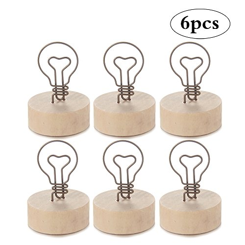 Light Bulb Mini Table Card Holders with Wood Base Display Clip Holder Memo Clips for Wedding Food Signs Party Supplies Office, 6-Pack