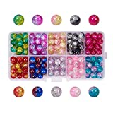 Pandahall 1 Box (About 200pcs) 10 Color Handcrafted Crackle Lampwork Glass Round Beads Assortment Lot for Jewelry Making, 8mm, Hole: 1.3mm