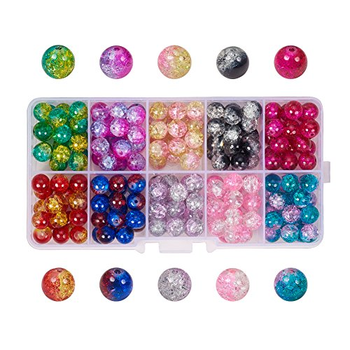 Pandahall 1 Box (About 200pcs) 10 Color Handcrafted Crackle Lampwork Glass Round Beads Assortment Lot for Jewelry Making, 8mm, Hole: -