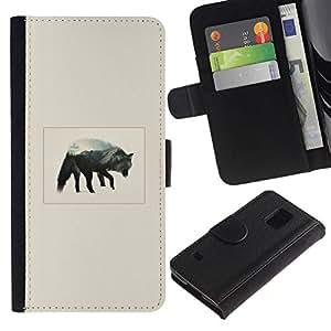 NEECELL GIFT forCITY // Billetera de cuero Caso Cubierta de protección Carcasa / Leather Wallet Case for Samsung Galaxy S5 V SM-G900 // Gray Wolf Mountain