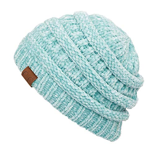 C.C Exclusives Cable Knit Beanie - Thick, Soft & Warm Chunky Beanie Hats (HAT-30) (Chenille Mint) (Chenille Beanie Hat)