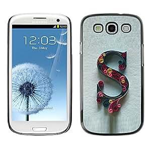 [Neutron-Star] Snap-on Series Teléfono Carcasa Funda Case Caso para Samsung Galaxy S3 [Letra inicial Caligrafía Carta floral gris]