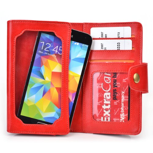 Red Leather Phone Case with Credit Card Slots fits Prestigio MultiPhone PAP5430