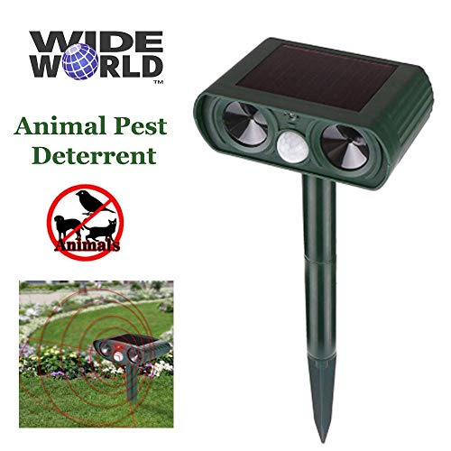 WIDE WORLD TM Ultrasonic Animal Pest Repeller, Outdoor Solar Powered Pest and Animal Repeller - Effectively Scares Away All Outdoor pests and Animals Such as Dogs or Raccoons
